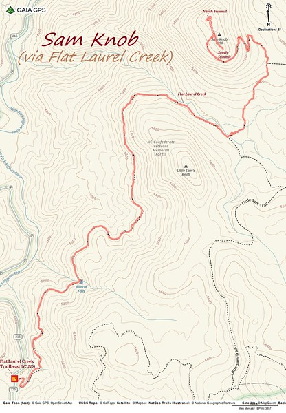 Sam Knob via Flat Laurel Creek Trail Route Map