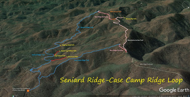 Seniard Ridge-Case Camp Ridge Loop Hike Route Map