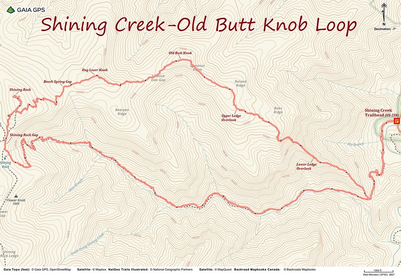 Shining Creek-Old Butt Knob Loop Hike Route Map
