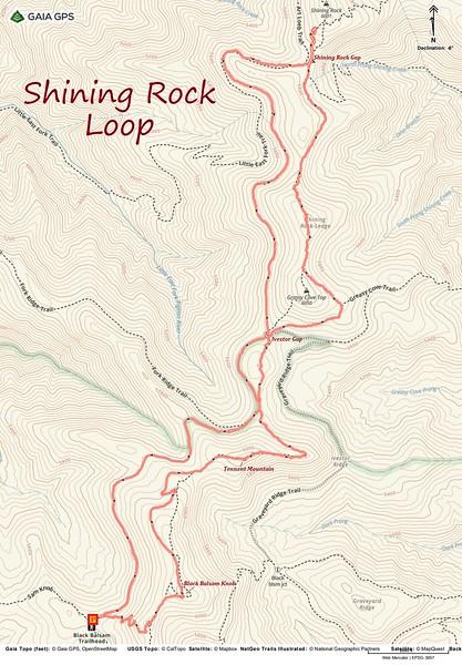 Shining Rock Loop Hike Route Map