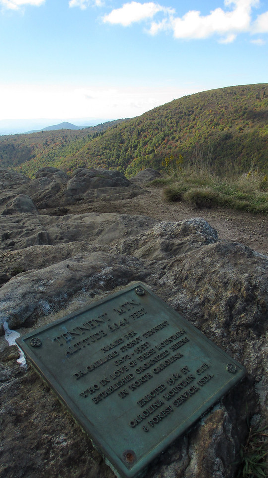 "Tennent Mountain was named for one Dr. Gaillard S. Tennent who, according to the plaque at the summit ""established organized hiking in North Carolina""...  (6,040')"