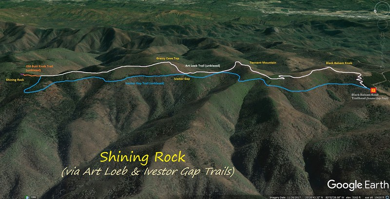 Shining Rock Hike Route Map
