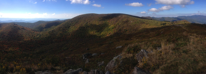 Tennent Mountain summit, looking south with the slightly higher Black Balsam Knob (6,214') front and center... (6,040')
