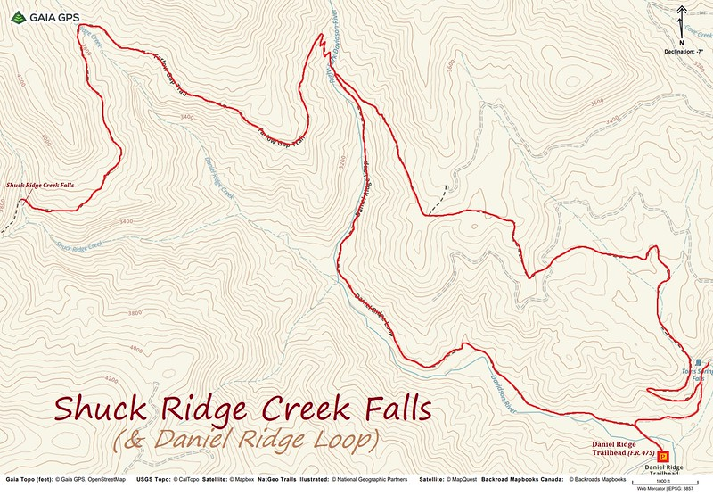 Shuck Ridge Creek Falls-Daniel Ridge Loop Route Map