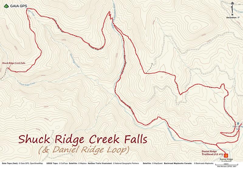 Shuck Ridge Creek Falls & Daniel Ridge Loop Hike Route Map