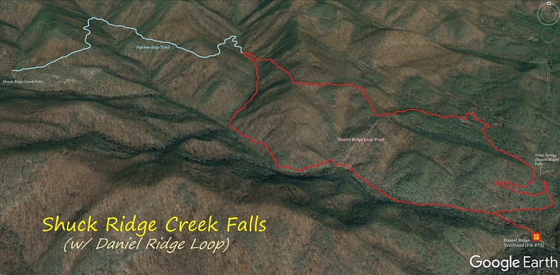 Shuck Ridge Creek Falls & Daniel Ridge Loop Hike Route Map