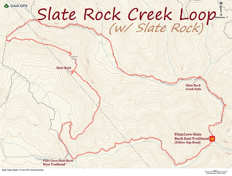 Slate Rock Creek Loop Hike Route Map