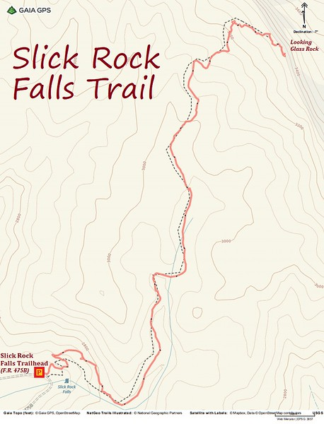 Slick Rock Falls Trail Route Map
