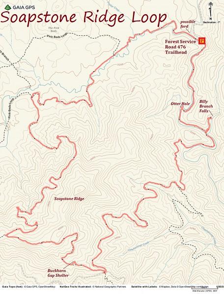 Soapstone Ridge Loop Hike Route Map
