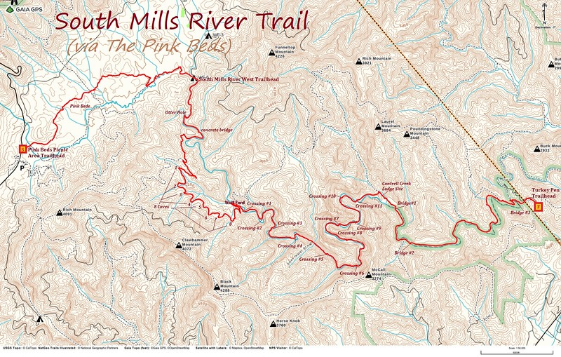 South Mills River Trail via Pink Beds Hike Route Map