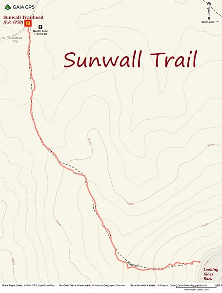 Sunwall Trail Hike Route Map