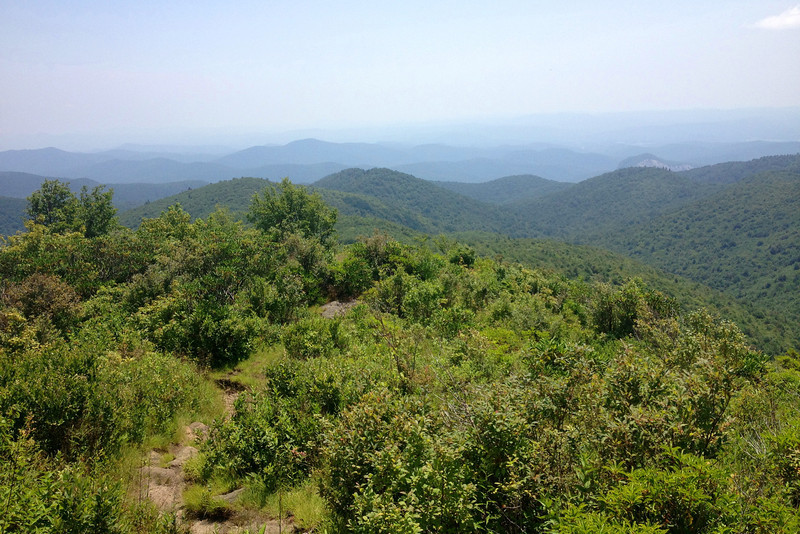 Breaking out onto Ivestor Ridge, hazy views towards South Carolina began to appear...