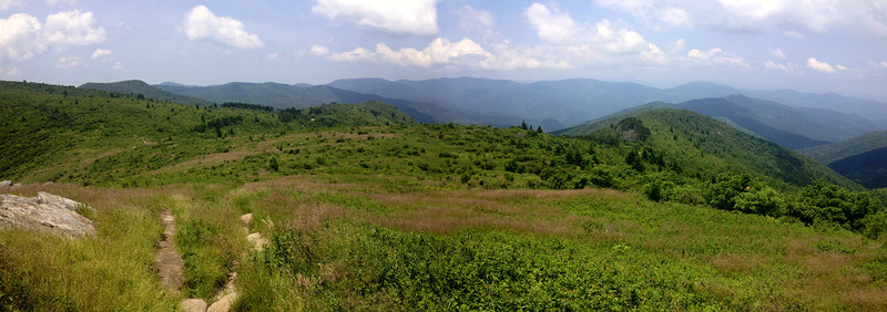 A wider panorama of the Art Loeb Trail as it makes its way down the south side of Tennent Mountain...