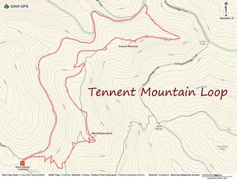 Tennent Mountain Loop Route Map