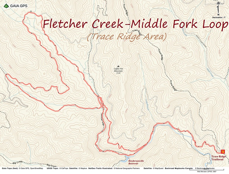 Fletcher Creek-Middle Fork Loop Hike Route Map