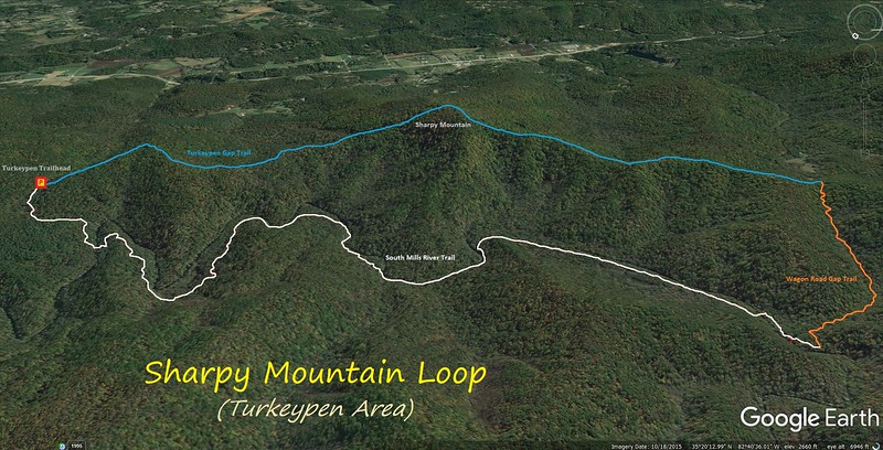 Turkeypen-Sharpy Mountain Loop Hike Route Map