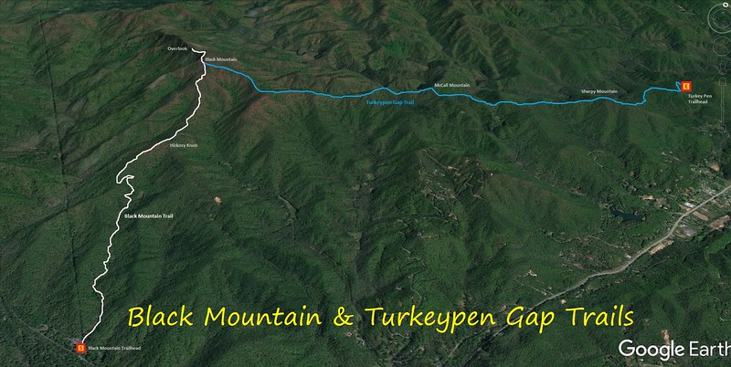 Black Mountain & Turkeypen Gap Hike Route Map