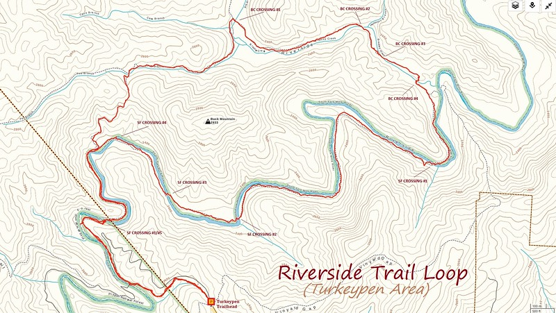 Riverside Trail Loop Hike Route Map