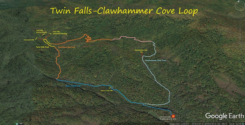 Twin Falls-Clawhammer Cove Loop Hike Route Map
