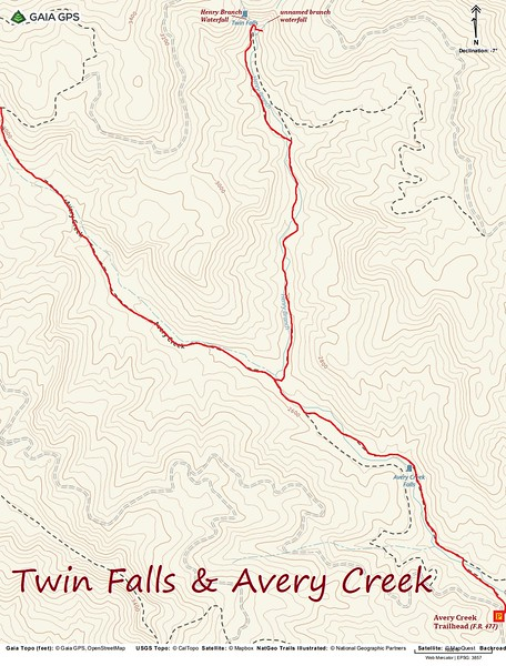 Twin Falls Hike Route Map