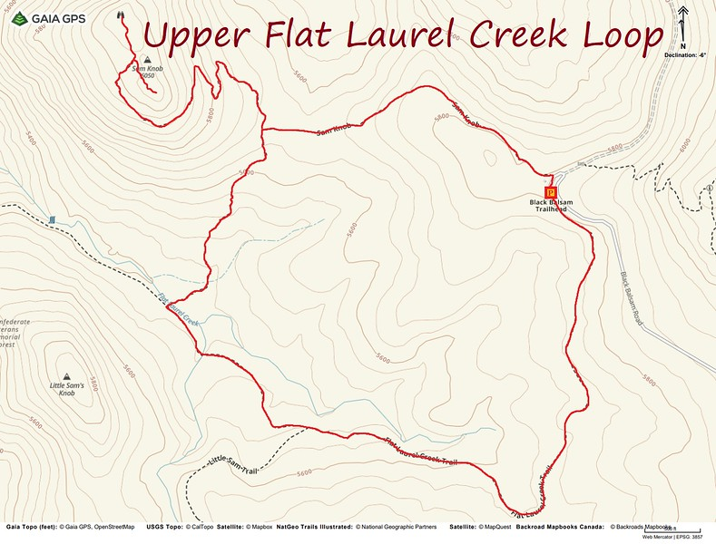 Upper Flat Laurel Creek-Sam Knob Loop Route Map