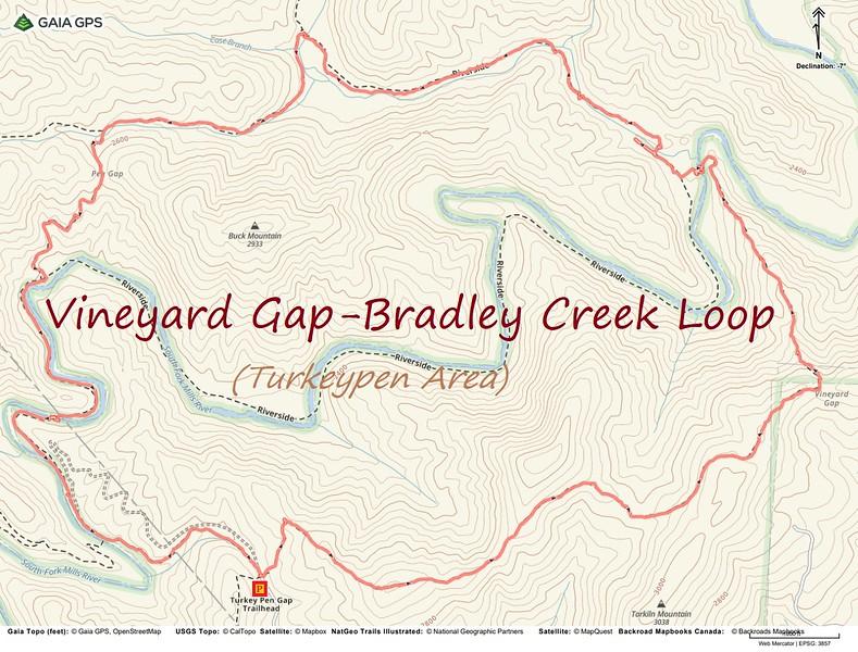 Vineyard Gap-Bradley Creek Loop Hike Route Map