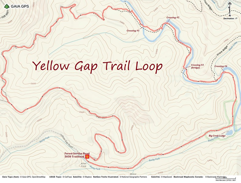 Yellow Gap Trail Loop Hike Route Map