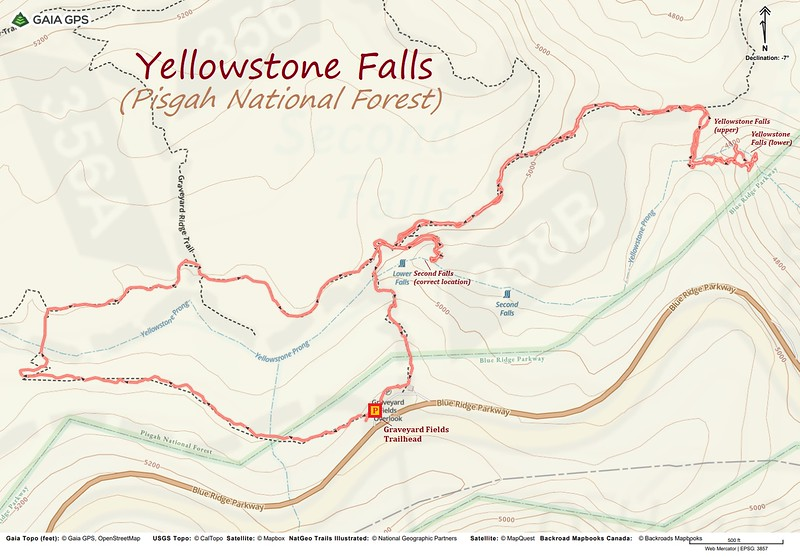Yellowstone Falls Hike Route Map