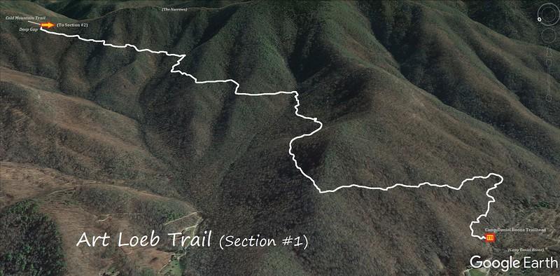 Art Loeb Trail Map (Section #1 -- Camp Daniel Boone Trailhead to Deep Gap)