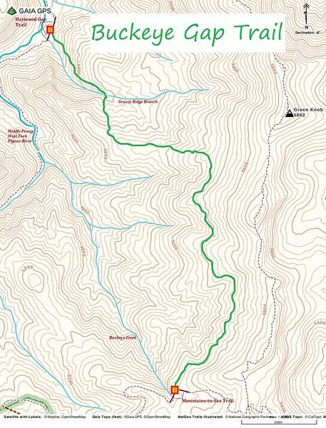 Buckeye Gap Trail Map