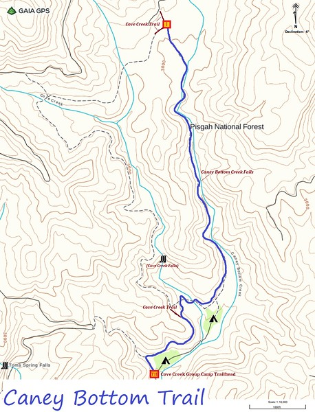 Caney Bottom Trail Map