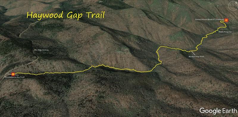 Haywood Gap Trail Map
