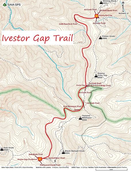 Ivestor Gap Trail Map