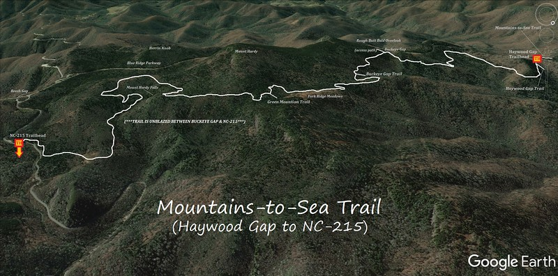 Mountains-to-Sea Trail Map (Haywood Gap to NC-215)