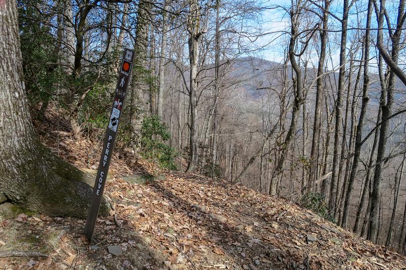 Perry Cove/Bennett Gap Trail Junction (Saddle Gap) -- 3,350'