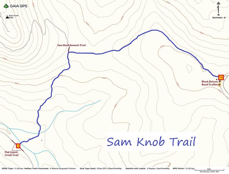Sam Knob Trail Map