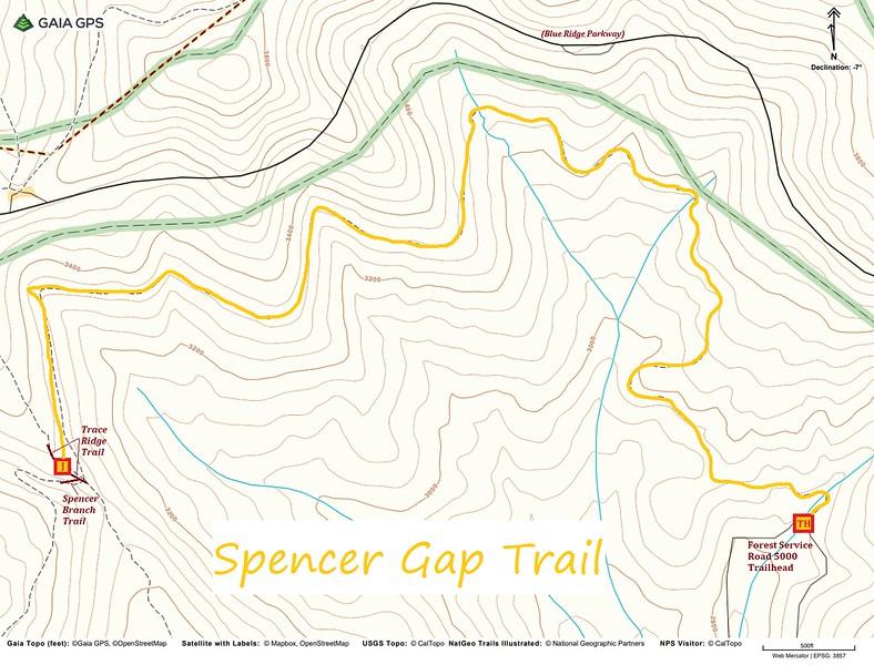 Spencer Gap Trail Map