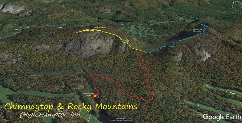 Chimneytop & Rocky Mountain Hike Route Map