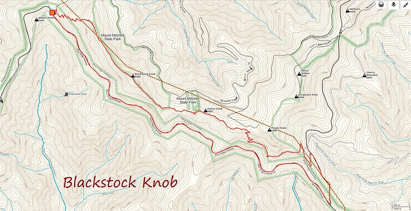 Blackstock Knob Hike Route Map