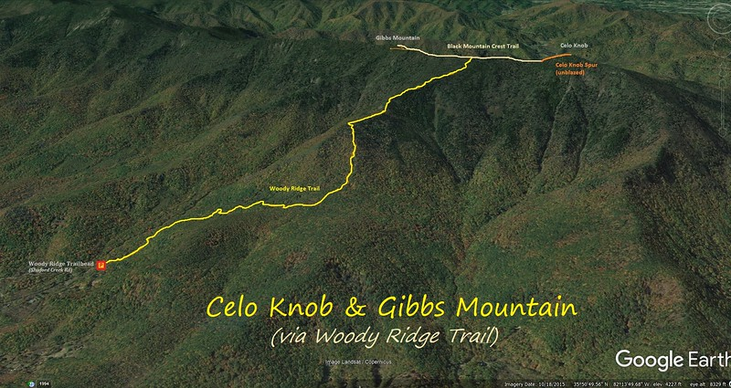 Woody Ridge Trail Hike Route Map