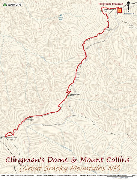Clingman's Dome & Mt. Collins Hike Route Map