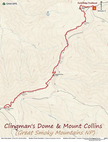 Clingmans Dome & Mt. Collins Hike Route Map
