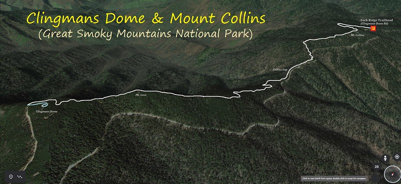 Clingmans Dome & Mt. Collins Hike Route Map