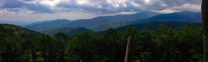 Heading home on US-441, south of Newfound Gap is a nice overlook to the east...Mt. Collins is the high peak farthest right while neighboring Clingman's Dome still stubbornly has its head in the clouds...