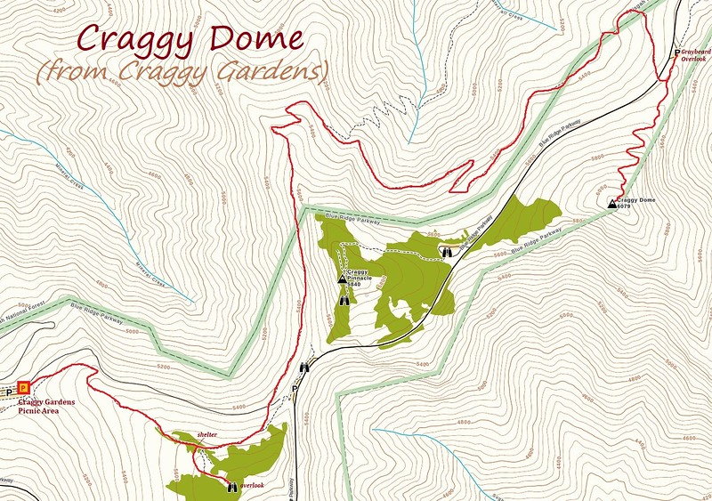 Craggy Dome Hike Route Map