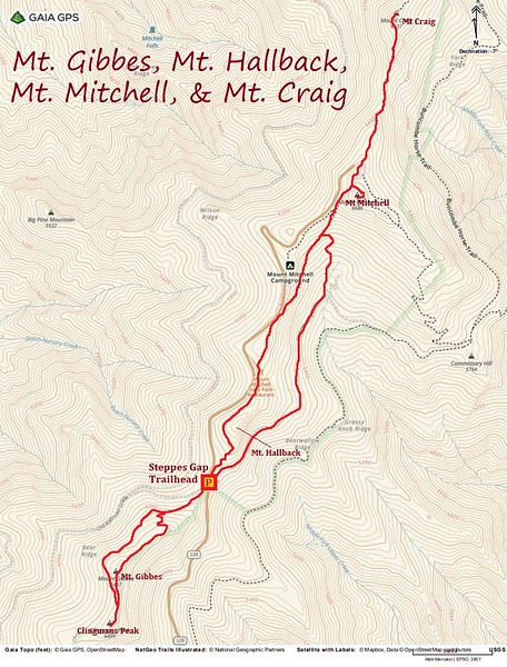 Southern Black Mountain Range Hike Route Map
