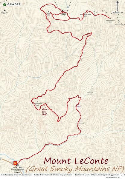 Mount LeConte via Alum Cave Hike Route Map