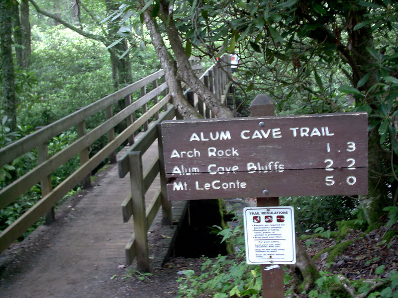 Alum Cave Trailhead - 3850 ft.