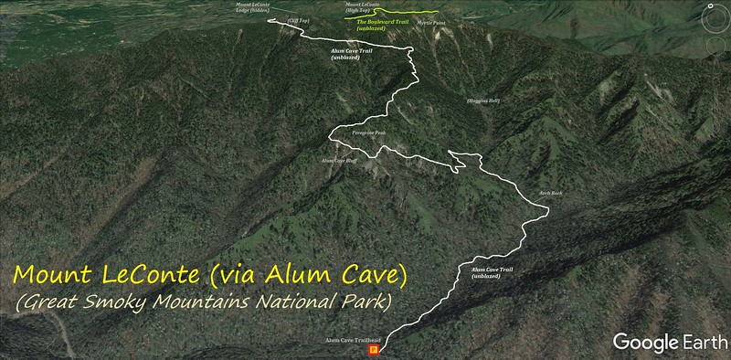 Mount LeConte via Alum Cave Hike Route Map