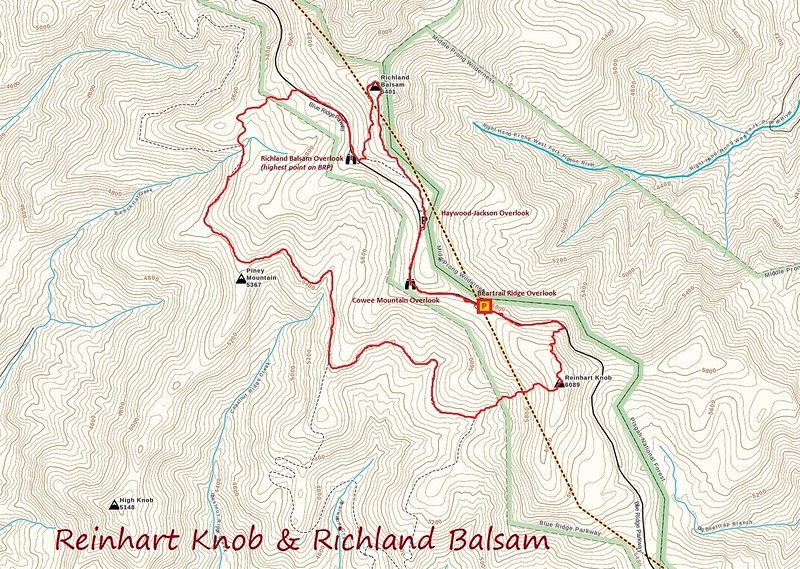 Reinhart Knob & Richland Balsam Hike Route Map
